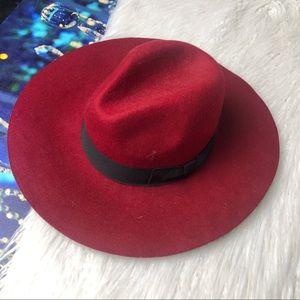 Red wool Panama fedora hat